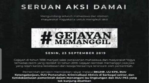 Poster seruan aksi damai Gejayan Memanggil yang beredar luas di media sosial. Aksi damai ini digelar Sening siang. (foto: Istimewa)