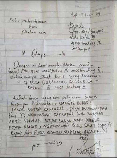 Viral Orangtua Siswa Di Jombang Tulis Surat Izin Nyeleneh