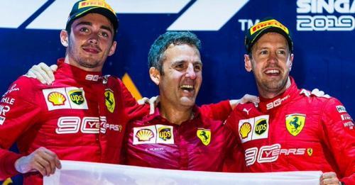 Sebastian Vettel terganggu dengan keberadaan Charles Leclerc (Foto: Twitter/@ScuederiaFerrari)