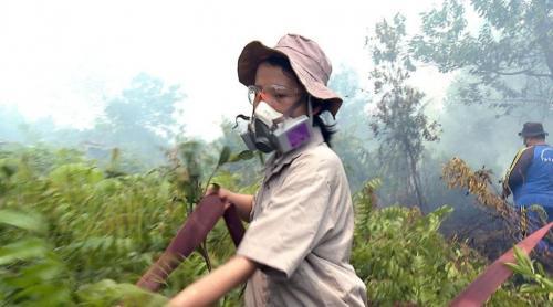 Sumarni Laman padamkan karhutla di Kalimantan Tengah. (Foto: BBC Indonesia)