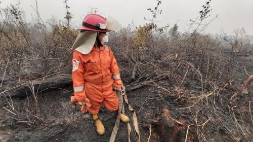 Sola Gratia Sihaloho padamkan karhutla di Kalimantan Tengah. (Foto: BBC Indonesia)