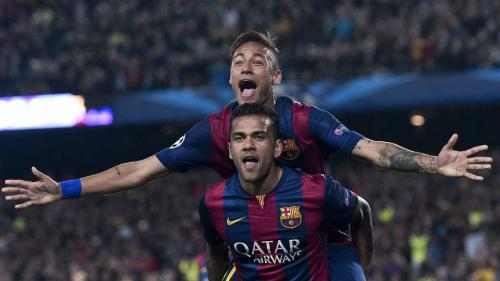 Dani Alves dan Neymar Jr saat masih di Barcelona