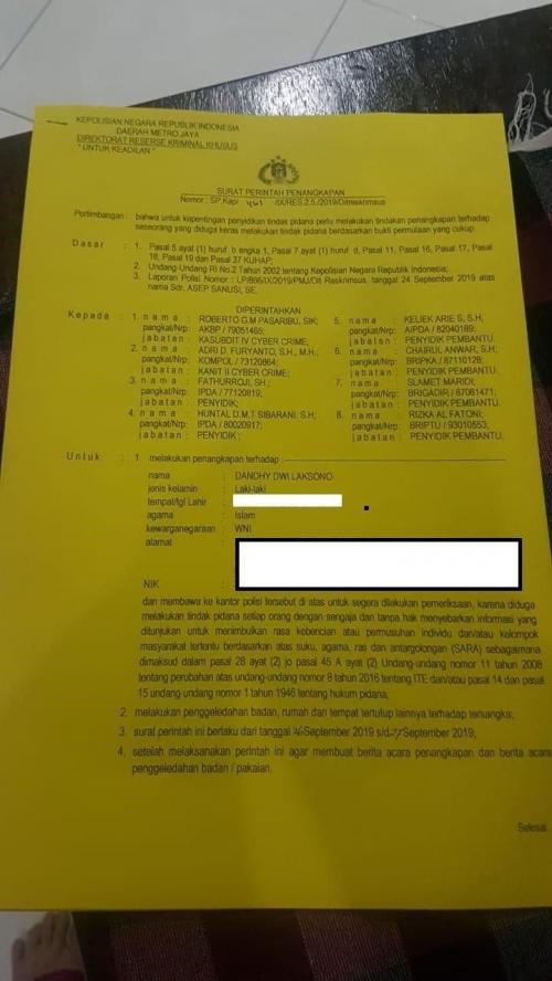 Surat penangkapan Dandhy Dwi Laksono (Foto : Istimewa)