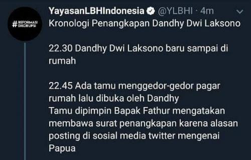 Kronologi penangkapan Dandhy yang diunggah YLBHI (Foto: Twitter)
