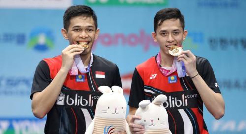 Fajar Alfian/Muhammad Rian Ardianto menyabet gelar juara nomor ganda putra (Foto: PBSI)
