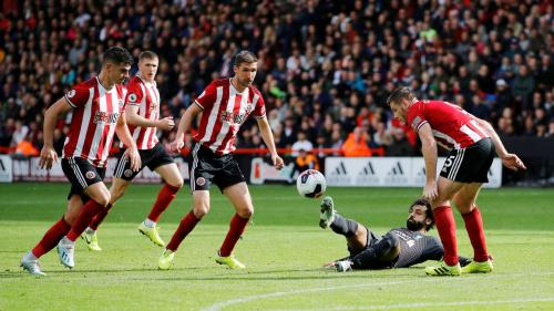 Mohamed Salah vs Sheffield United (Foto: Premier League)