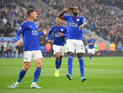 Pemain Leicester selebrasi