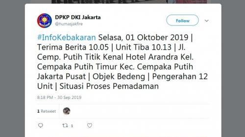 Kebakaran di Cempaka Putih Jakpus. (Twitter DKPK DKI Jakarta/@humasjakfire)