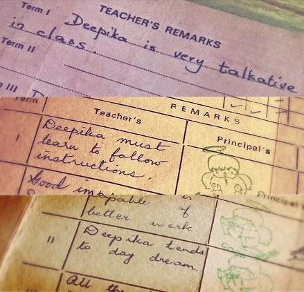 Deepika Padukone membagikan sederet catatan guru dalam rapornya. (Foto: Instagram/@deepikapadukone)