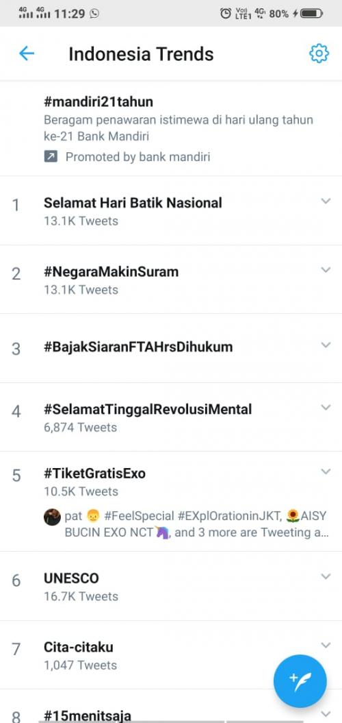 Bajak Siaran FTA Harus Dihukum Trending di Twitter