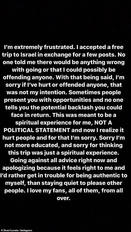 Demi Lovato menjawab hujatan publik soal perjalanannya ke Israel. (Foto: Instagram/@ddlovato)