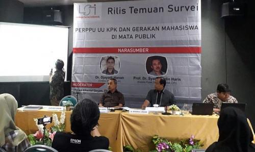 Survei LSI terkait demo mahasiswa dan UU KPK (Foto : Okezone.com/Achmad)