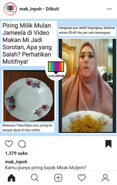 Mulan Jameela mukbang, netizen malah fokus pada piringnya. (Foto: Instagram/@mak_inpoh)