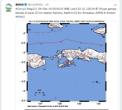 Gempa Ambon. (Foto : Twitter/@infoBMKG)