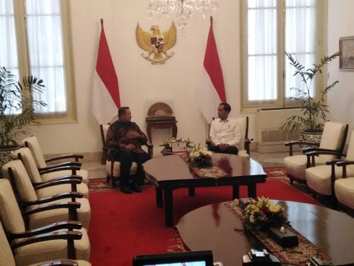 Jokowi dan SBY bertemu di Istana (Foto : Okezone/Fakhri)