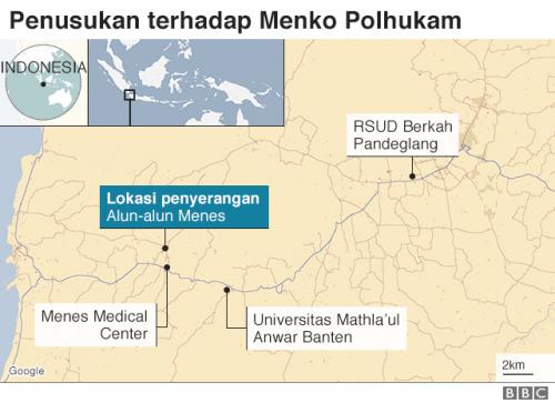 Lokasi penusukan Wiranto. (Foto: BBC Indonesia)