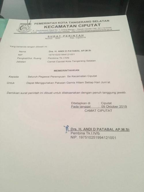 Surat edaran Jumat Bergamis Hitam dari Kecamatan Ciputat