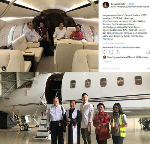 Pesawat jet suami Sandra Dewi