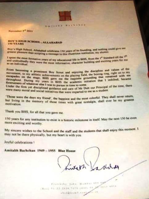 Surat Amitabh Bachchan untuk sekolahnya yang mengungkapkan dia sempat menjadi petinju selama 7 tahun. (Foto: IST)