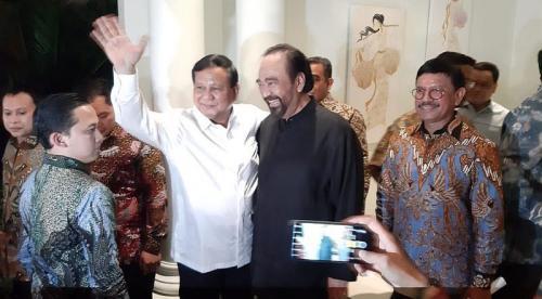 Prabowo bertemu Surya Paloh. (Foto : Okezone.com/Fahreza Rizky)