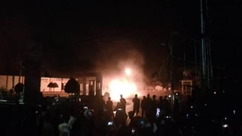 Kebakaran SPBU di Agam, Sumbar. (Ist)