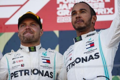 Hamilton dan Bottas merayakan posisi podium