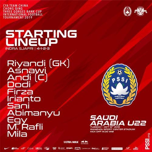 Susunan pemain Timnas Indonesia U-22 vs Arab Saudi