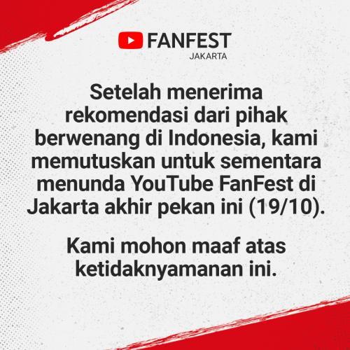 Gelaran YouTube Fanfest Ditunda