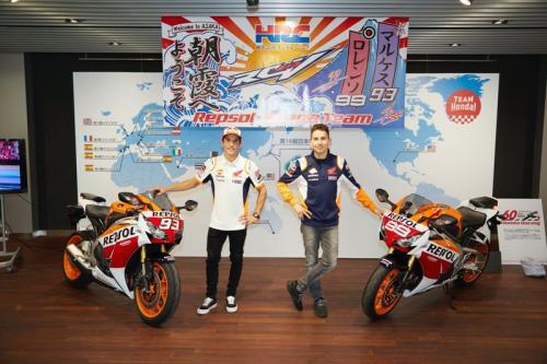 Marquez dan Lorenzo saat setim di Repsol Honda pada MotoGP 2019