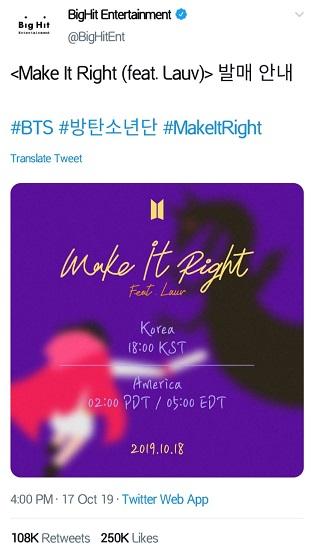 BTS menggandeng LAUV untuk menggarap versi remix Make It Right. (Foto: Twitter/@BigHitEnt)