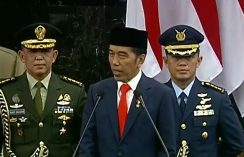 Jokowi pidato usai dilantik jadi presiden periode 2019-2024. (Foto : BPMI)