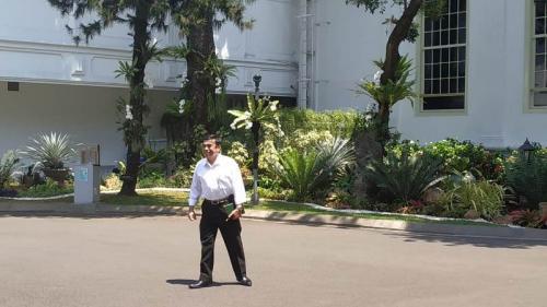 Fachrul Razi dipanggil Jokowi ke Istana Kepresidenan Jakarta, Selasa (22/10/2019). (Foto : Okezone.com/Fakhrizal Fakhri)