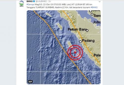 Gempa di Mentawai. (Foto : Twitter/@infoBMKG)