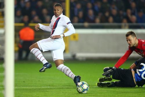 Kylian Mbappe di laga kontra Club Brugge