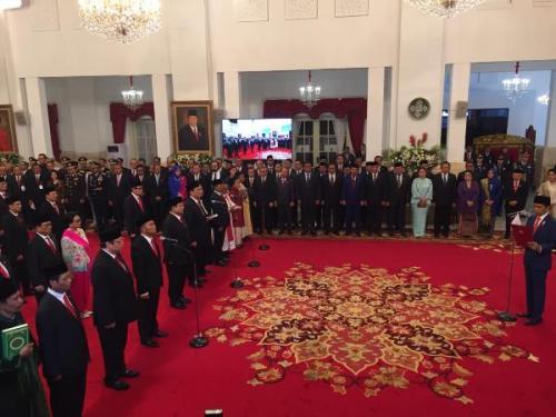 Presiden Jokowi mantik Kabinet Indonesia Maju di Istana Negara, Jakarta, Rabu (23/10/2019). (Foto : Okezone.com/Fakhrizal Fakhri)