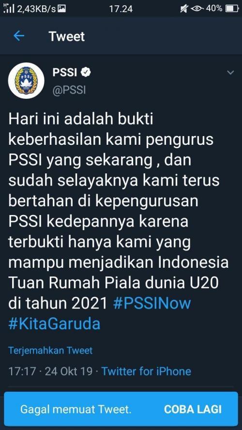 Akun Twitter PSSI diretas (Foto: Twitter/@PSSI)