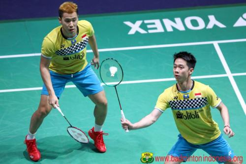 Marcus Fernaldi/Kevin Sanjaya sedang bertanding