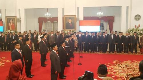 Presiden Jokowi lantik wamen di Istana Negara, Jakarta, Jumat (25/10/2019). (Foto : Okezone.com/Fakhrizal Fakhri)