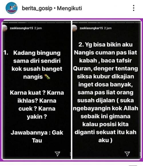 Curhatan Zaskia Sungkar di InstaStory mendapat kritikan warganet. (Foto: Instagram/@berita_gosip)