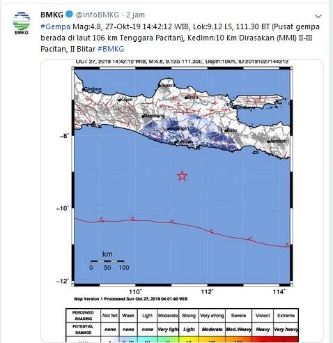 Gempa magnitudo 4,8 guncang Pacitan (Foto : Twitter/@infoBMKG)