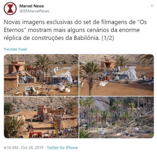 Produksi The Eternals akan segera dimulai, setelah set dengan bangunan megah didirikan Marvel Studios di Canary Islands, Spanyol. (Foto: Twitter/@BRMarvelNews)