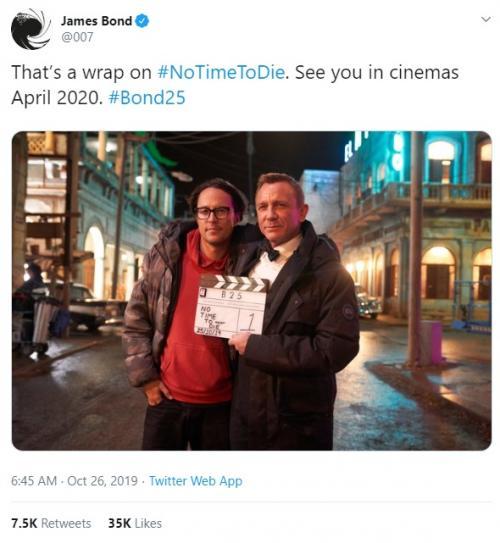 James Bond: No Time to Die menyelesaikan masa produksi. (Foto: Twitter/@007)