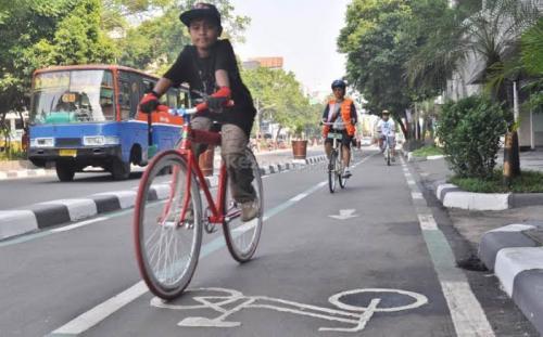 Jalur sepeda di DKI Jakarta. (Foto: Dok Okezone)