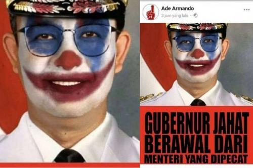 Meme Anies berdandan Joker (Foto : Facebook/Ade Armando)