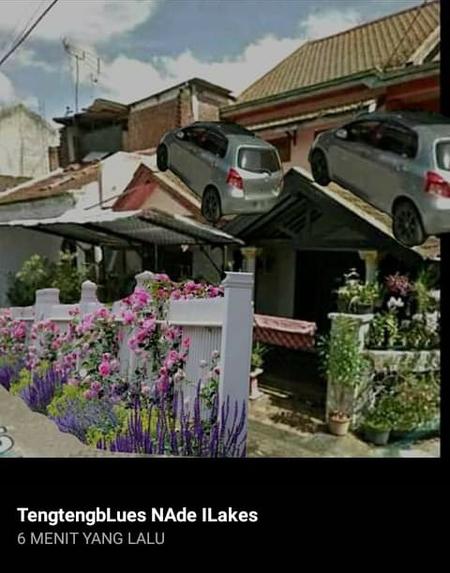 kelakuan Netizen yang mengedit foto mobil Clara Gopa di atas kanopi. Kok ngakak ya kalau sampai benar mobil itu ada di atas kanopi