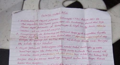 Surat wasiat yang ditulis korban, berisi kekecewaan terhadap keluarga. (foto: iNews.id/Stepanus Purba)