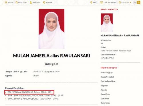 DPR akhirnya merevisi riwayat pendidikan Mulan Jameela saat SD. (Foto: DPR)