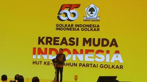 Presiden Jokowi saat menghadiri HUT Golkar. (Foto : Okezone.com/Fakhrizal Fakhri)