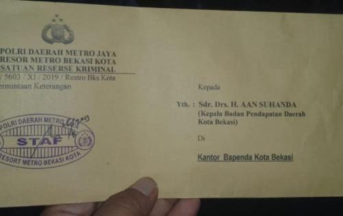 Surat Pemanggilan Kepala Bappenda oleh Kepolisian. (Foto : Ist)