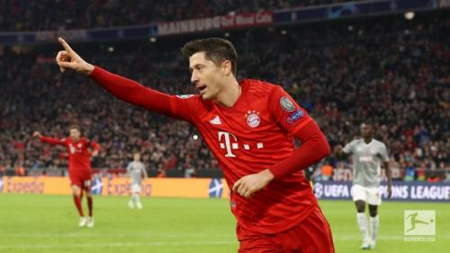 Ekspresi Robert Lewandowski saat di pertandingan Bayern Munich